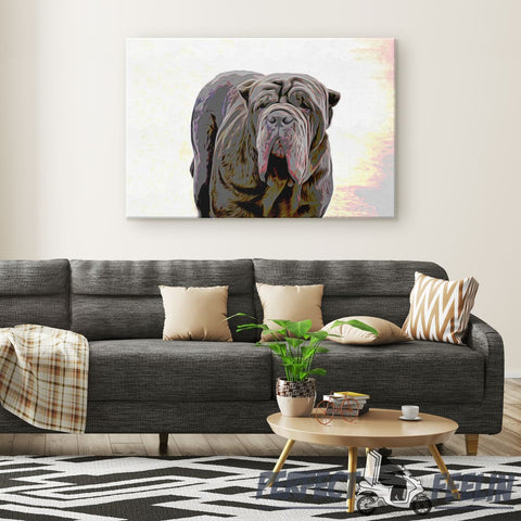Apollo Big and Cool Dog Sunrise Background Canvas Wall Art