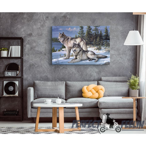 Blue Wolf in Snow Painting Framed Canvas Wall Art K081319 -