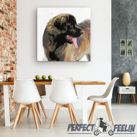 Bruno the Naughty Leonberger Crayon Draw Canvas Wall Art