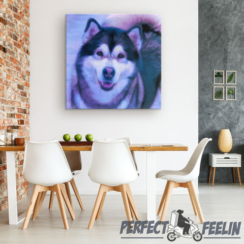 Dakota the Happy Alaskan Malamute Miracle Background Canvas