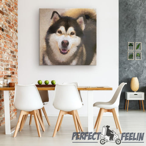 Dakota the Happy Alaskan Malamute Yellow Background Canvas