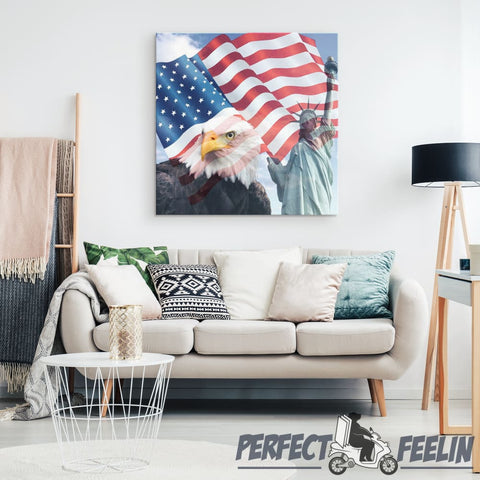 Eagle Lady Liberty & Flag - Canvas Art K090919 - Made in Usa