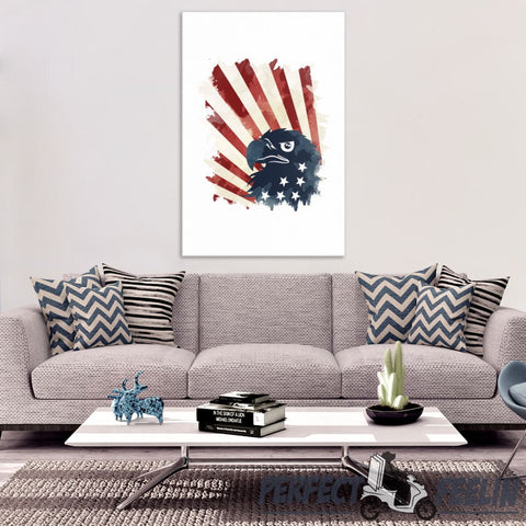 Eagle Stars and Stripes Patriot Usa American Flag Canvas Art