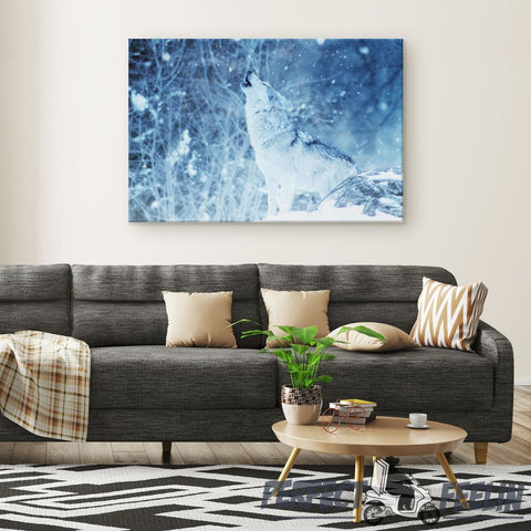 Howling Snow Wolf - Rectangle Gallery Canvas Wall Art
