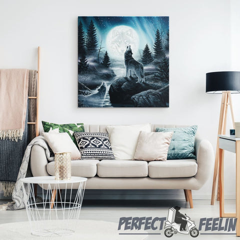 Howling Wolfs Framed Canvas Wall Art K081319 - Made in Usa