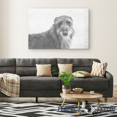 Seamus the Addorable Irish Wolfhound with Pencil Draw