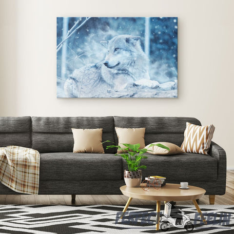 Snow Wolf - Rectangle Gallery Canvas Wall Art Q100720 - Made