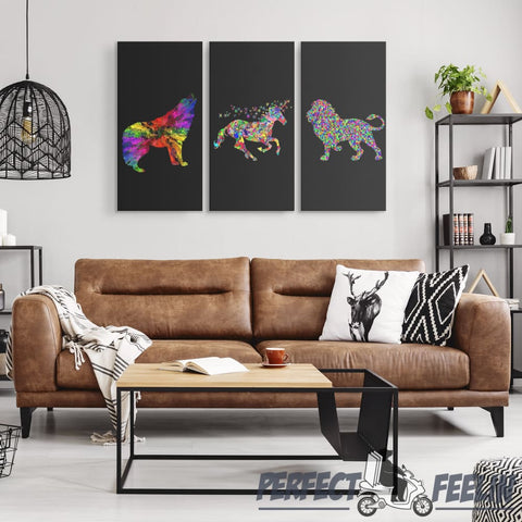 The Chromatic Animals Wolf Unicorn Lion - 3 Piece Canvas