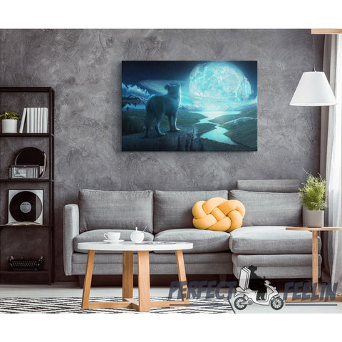 White Wolf looking at Glowing Blue Moon Framed Canvas Wall