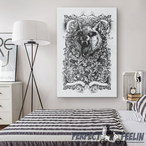 Wolf in Danger Canvas Wall Art K021019 - Made in Usa
