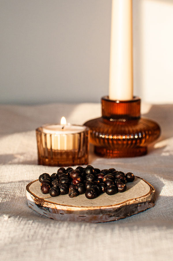 juniper berries and soy aromatherapy candles
