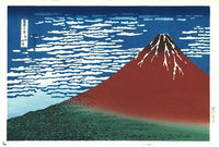 "Woodblock print ""Red Fuji southern wind clear morning"" by HOKUSAI 木版画 凱風快晴 (赤富士)"