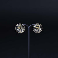 "Damascene Round pierced earrings (Stud type) ""Bamboo"" 象嵌 丸型ピアス 竹 (スタッドタイプ)"