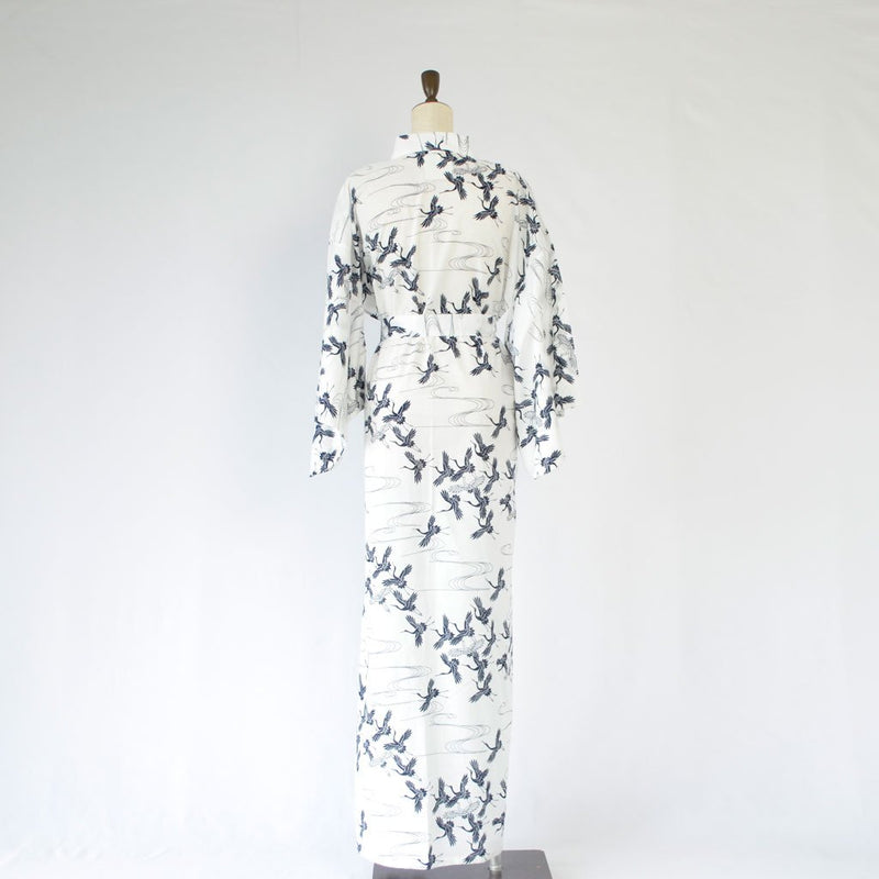 "Yukata Ladies' Cotton ""Crane"" White 浴衣 女 綿 鶴 白"