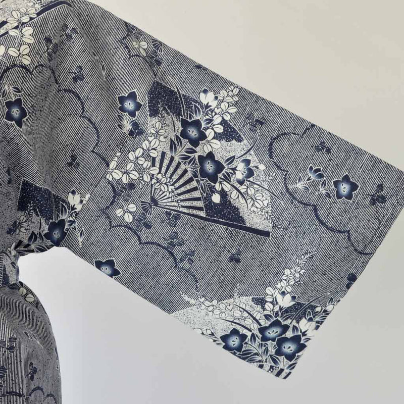 "Yukata Knee Unisex Cotton ""Folding Fans"" 浴衣 長伴天 男女共用  綿 扇"