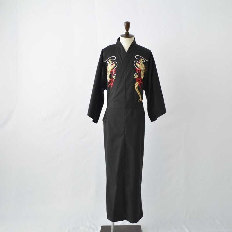 "Kimono MEN's' Cotton ""Gold dragon Embroidery"" (Black) 着物 男 綿ブロード 金竜ヌイ (Black)"