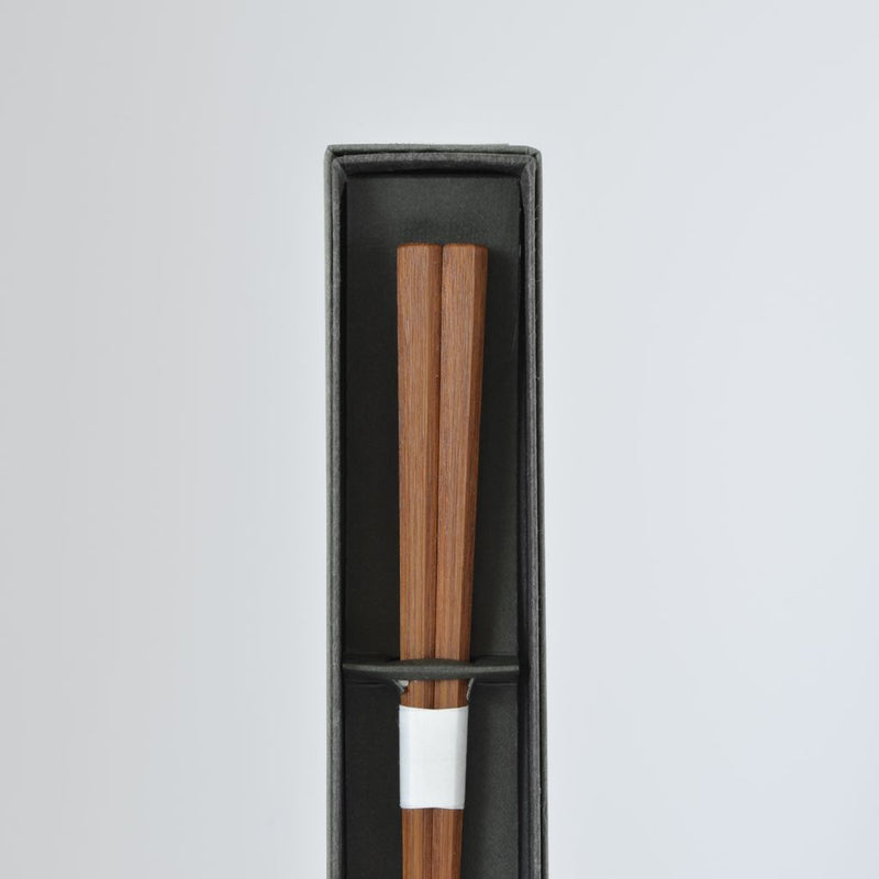 "Chopsticks Octagonal bamboo chopsticks ""Smoked bamboo"" 竹製八角漆箸 燻煤竹"