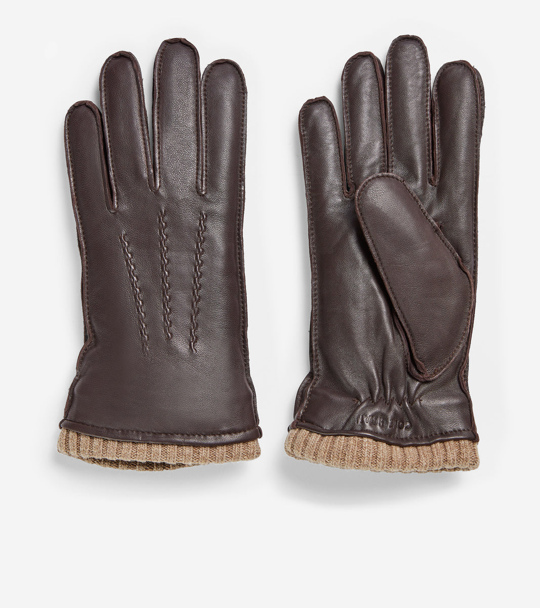 GRANDSERIES Leather Knit Cuff Glove