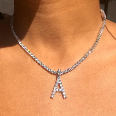 Crystal Initial Tennis Necklace
