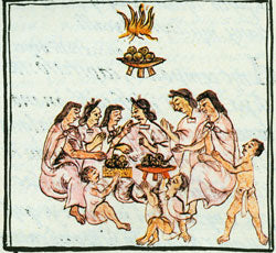 'The Eating of Tamales Stuffed with Amaranth Greens,' Florentine Codex.