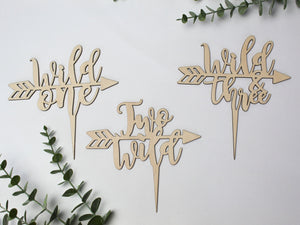 Cake Topper - Wild one / Two wild / Wild and Three