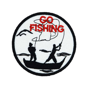 GO FISHING Patch Embroidered Applique Sewing Label punk biker Patches Clothes Stickers Apparel Accessories Badge