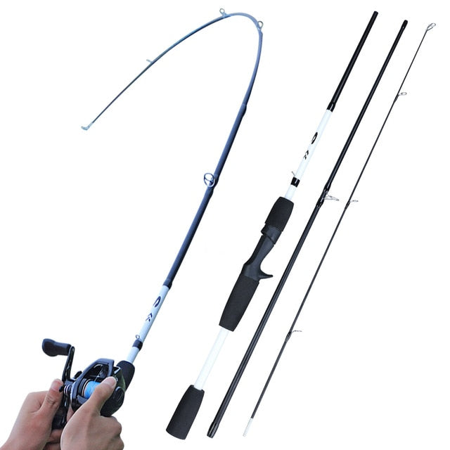 Sougayilang 2/3 Sections Carbon Fiber Spinning/Casting Fishing Rod Ultralight Weight Fishing Pole Travel Rod Fishing Pesca