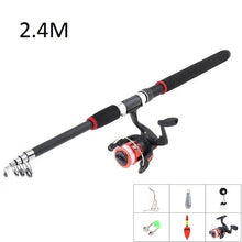 Load image into Gallery viewer, 2.1-3m glass fiber Telescopic Spinning Fishing Rod and Reel set Combos Full Kit Fishing Gear Fishing accessories Fish hook