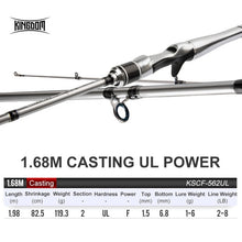 Load image into Gallery viewer, Kingdom SILVER NEEDLE Fishing Rods 2020 ultralight fast Spinning rod 2 section UL L ML M MH Fuji Ring Carbon Casting Travel Rod