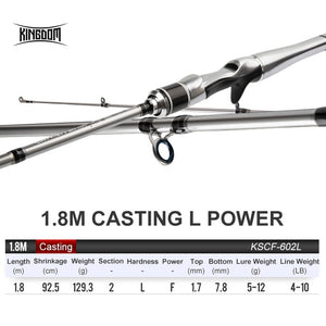 Kingdom SILVER NEEDLE Fishing Rods 2020 ultralight fast Spinning rod 2 section UL L ML M MH Fuji Ring Carbon Casting Travel Rod