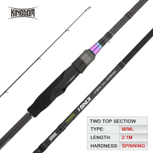 Kingdom Fishing Rod Reel Combo Casting Spinning Set Two Power Tips 1.8m/2.1m/2.4m L ML M MH Lightweight Two Sections For Pike