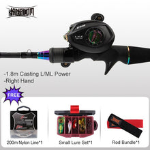 Load image into Gallery viewer, Kingdom Fishing Rod Reel Combo Casting Spinning Set Two Power Tips 1.8m/2.1m/2.4m L ML M MH Lightweight Two Sections For Pike