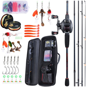 Sougayilang Portable Travel Fishing Combo 1.8-2.4m Casting Fishing Rod and 12+1BB Reel Combo Fishing Line Lures Bag Accessories