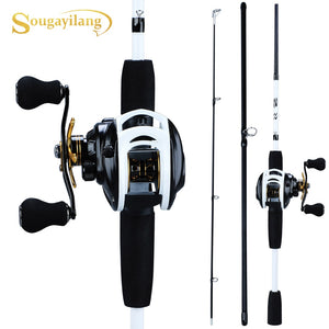 Sougayilang New Fishing Rod Reel Combo Portable  3 Sections   175CM Lure Fishing Rod and 9+1BB Baitcasting Reel Set