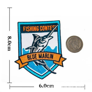 GO FISHING Patch Embroidered Applique Sewing On Label Punk Biker Patches Clothes Stickers Apparel Accessories Badges