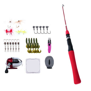 Kids Fishing Rod and Reel Combo Kit Fishing Spincast Gear for Boys and Girls -with Tackle Box Fully Equipped Red
