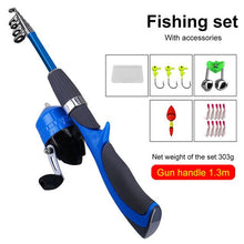 Load image into Gallery viewer, Mini Telescopic Fishing Rod Reel Combos Full Kit  Ultra Light Carbon Fiber Spinning Reel With Lures Hooks Jig Head Carrier Bag