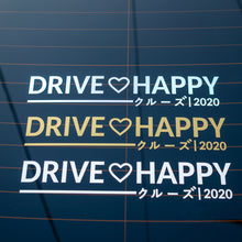 Load image into Gallery viewer, Kuruzu drive happy die cut that comes in 3 colors: white, gold metallic and oil slick. Safe to apply onto clean car windows.