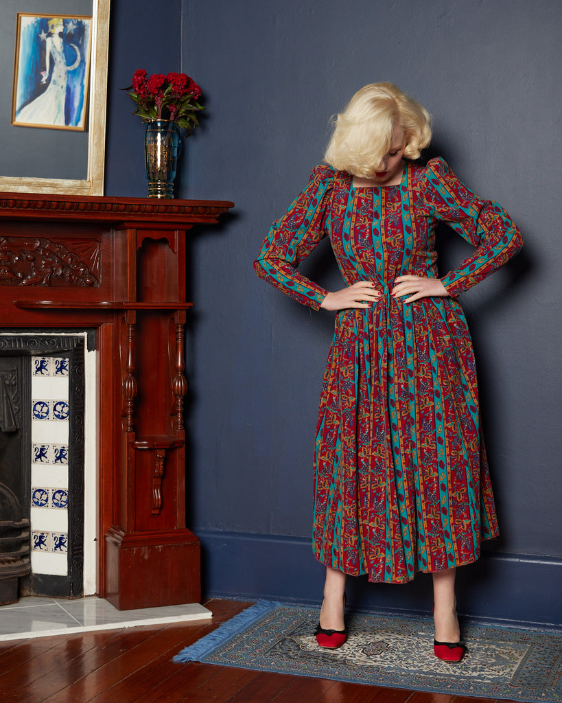 1980s Laura Ashley Patterned Corduroy Winter Dress