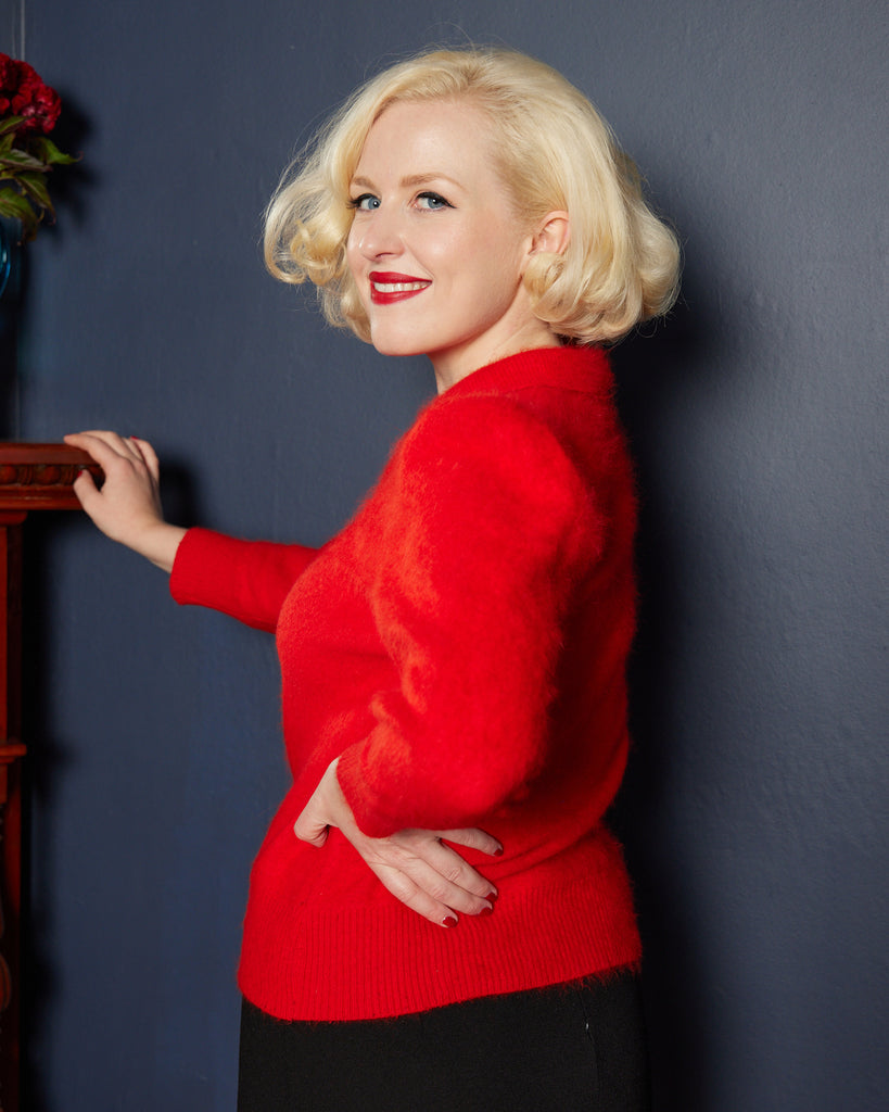 1950s Bright Red Angora Jumper
