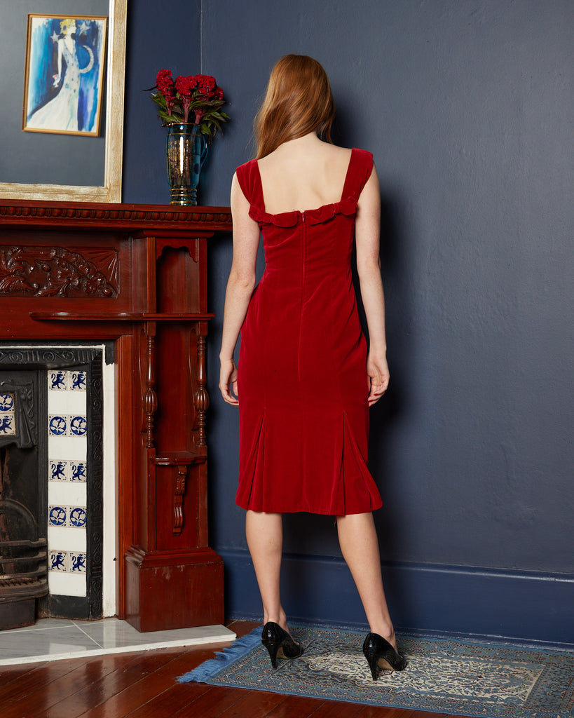 1960s Sexy Red Velvet Dress with Bows