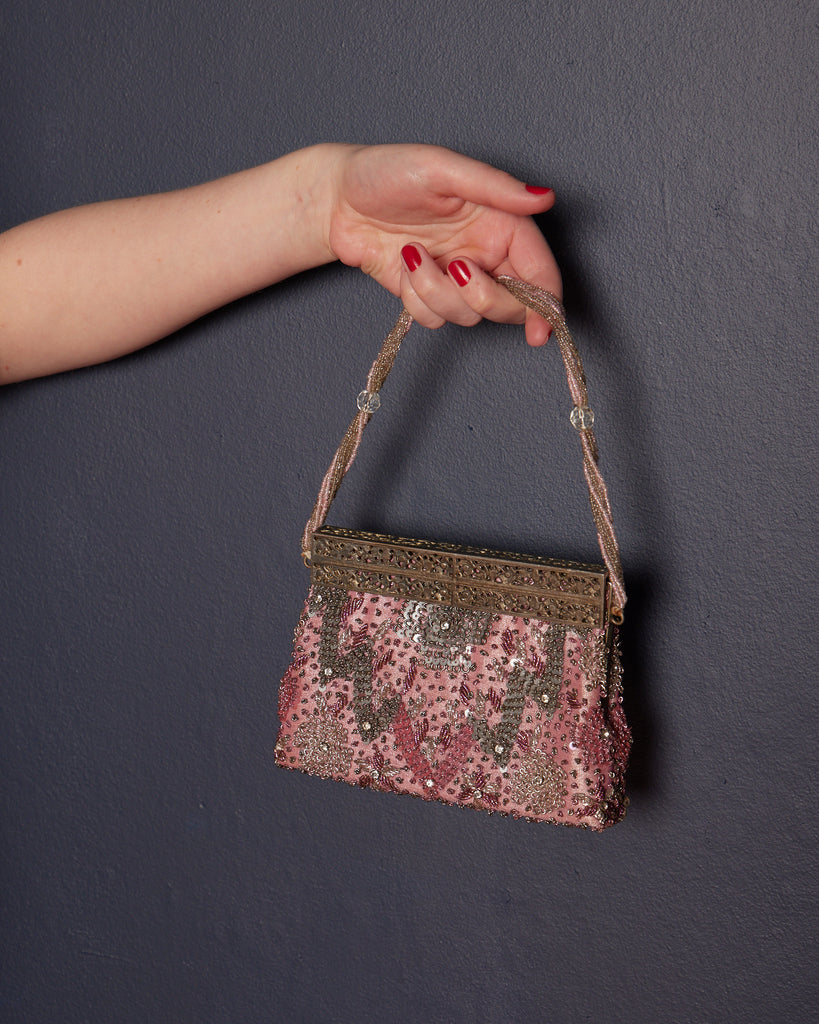 1930s Beaded Pink Evening Bag