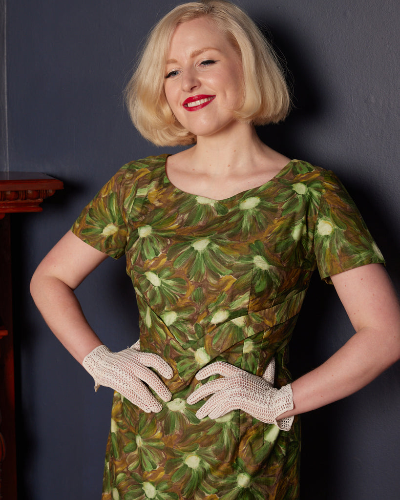 1960s Green Floral Cotton Wiggle Dress