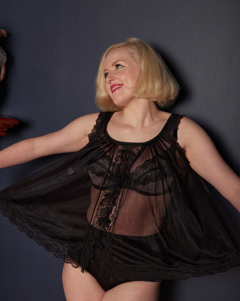1960s Sheer Black Babydoll Top
