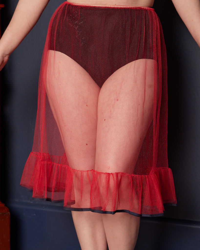 1960s Red Net Petticoat