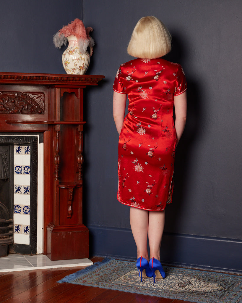 1990s does 1960s Red Cheongsam-style Wiggle Dress