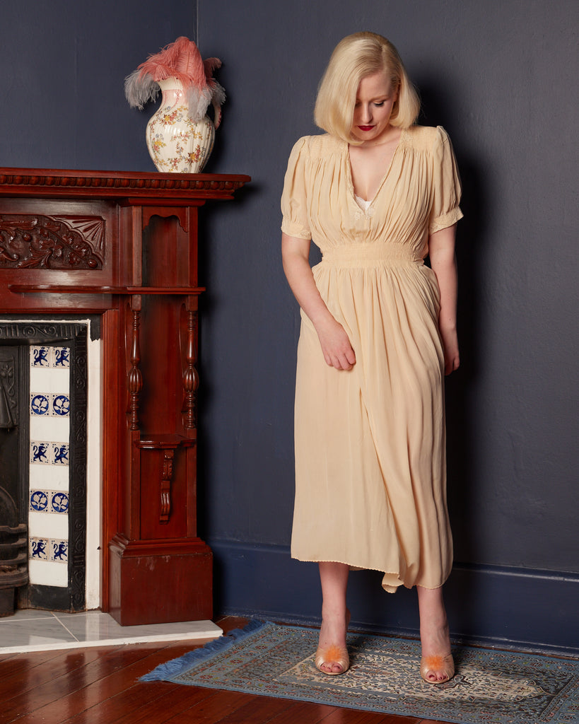 1930s Cream Silk Dress Slip with Short Sleeves