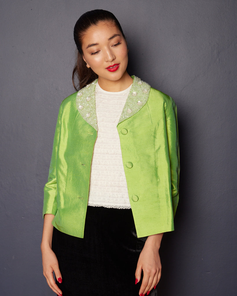 1960s Chartreuse Cropped Silk jacket with Beaded Collar