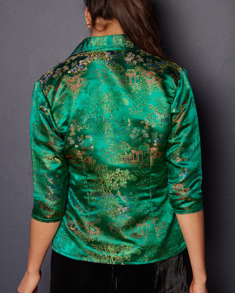 1990s does 1960s Cheongsam Silk Emerald Green Jacket