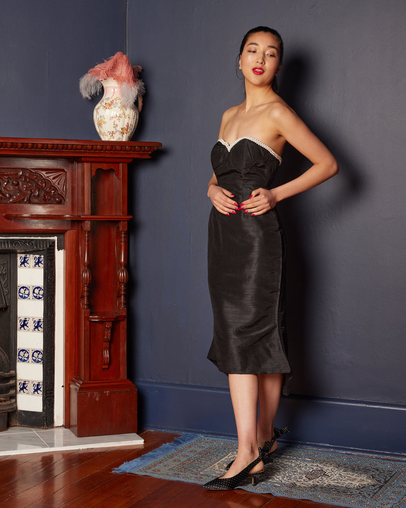 1990s does 1960s Strapless Wiggle Dress with Pearl Detail